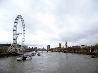 view of london eye and westminster from waterloo bridge