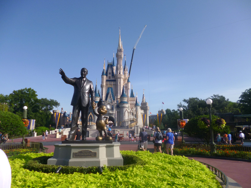 castle, disney world, walt disney statue, mickey mouse, disney world, orlando, florida