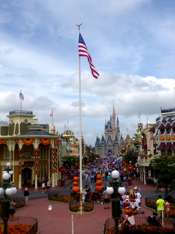disney world, castle, usa flag, orlando, florida, halloween