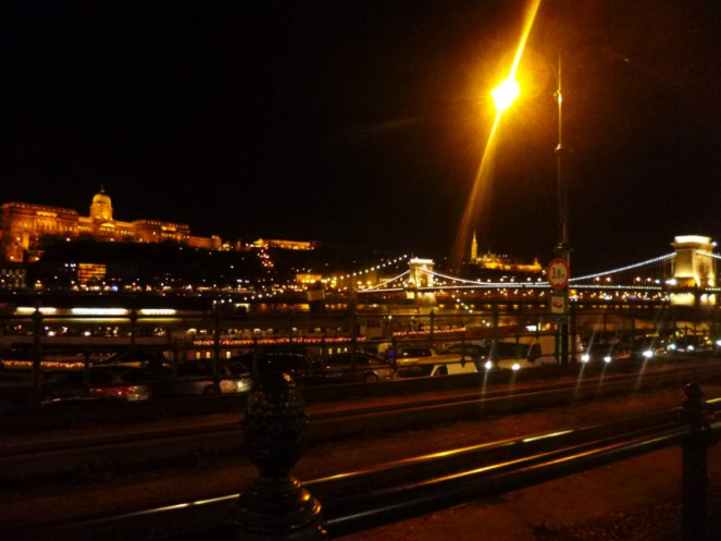 Budapest at night with Buda Castle and Chain Bridge, Hungary
