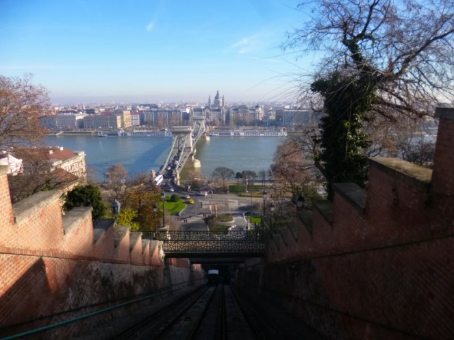 Going up to Buda castle on the funicular, Budapest, Hungary