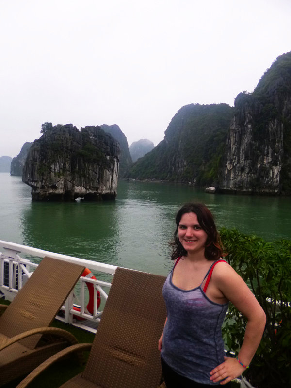 Me on the boat in Halong Bay, Vietnam