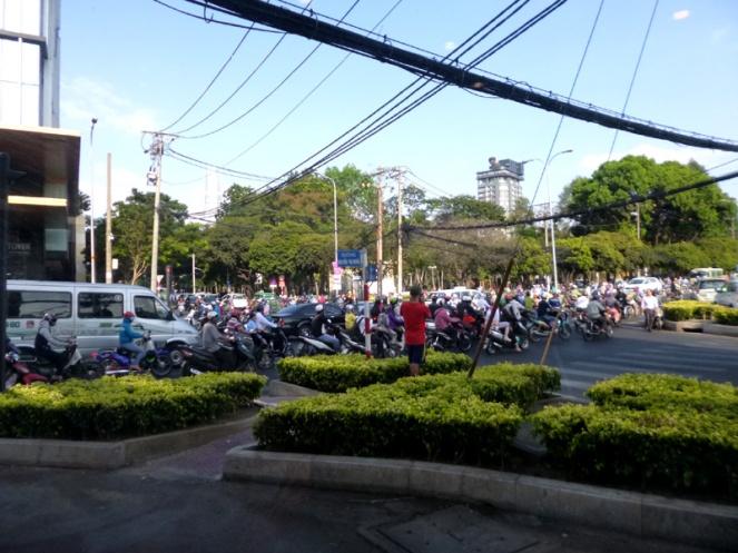 bikes, scooters, roadblock, saigon, hcmc, ho chi minh city, vietnam