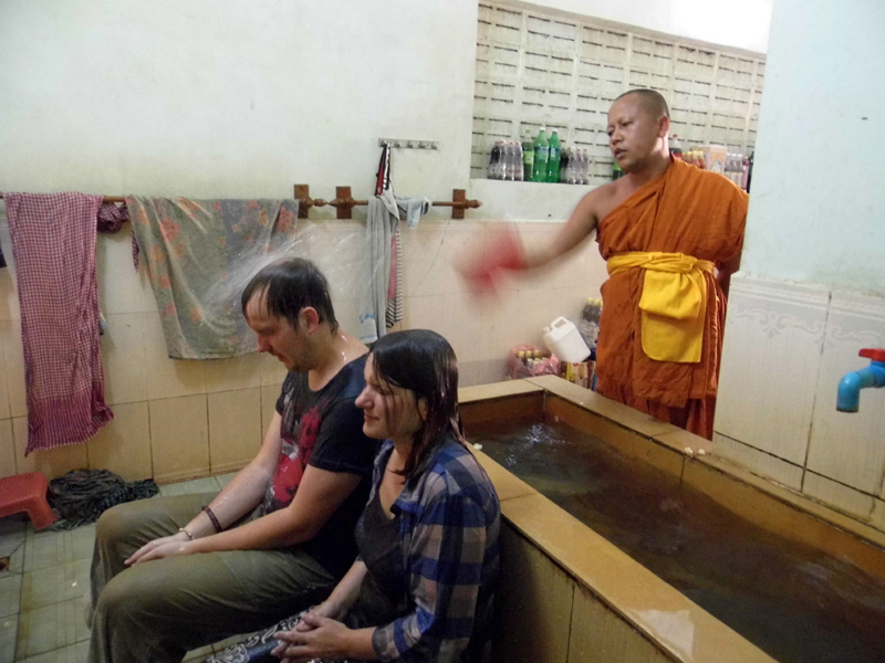 Water blessing at a temple, Siem Reap, Cambodia