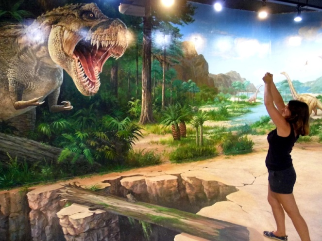 Here I am shouting 'YOOOUUUU SHALLLLL NOT PASSSS' at a T-Rex.