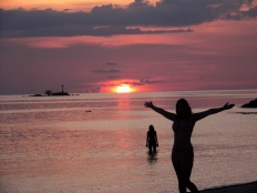 sunset, koh phangan, beach, island, thailand