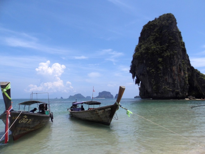 phranang beach, railay, thailand, long tail boats