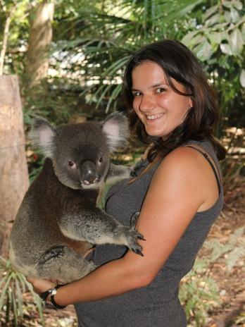 holding a koala, Lone Pine Koala Sanctuary, Brisbane, Australia