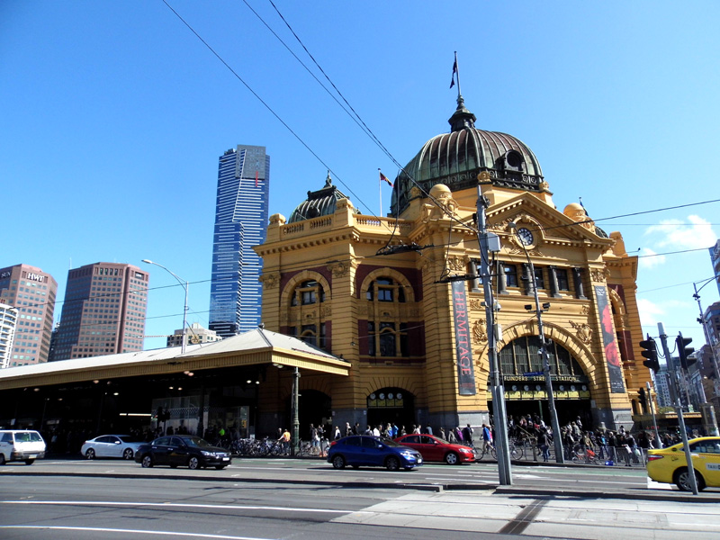 flinders street train station, melbourne, australia