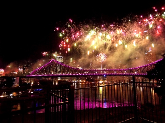 Brisbane River Fire fest fireworks, Story Bridge, Australia