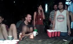 bluetongue backpackers brisbane, beer pong, friends, australia