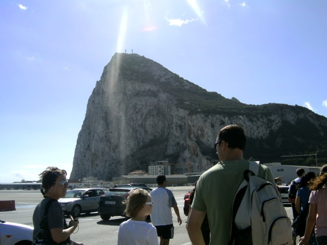 crossing the runway, view of gibraltar rock