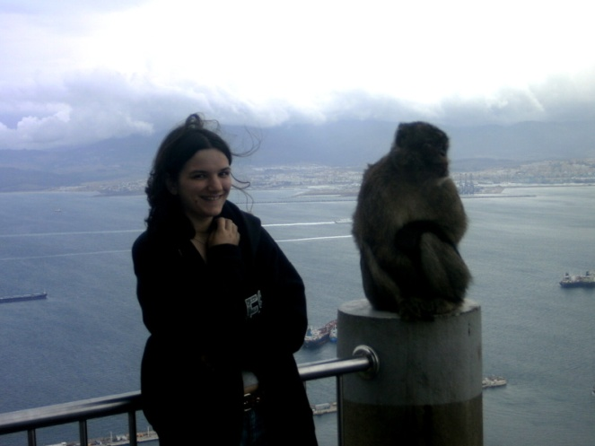 moments after having a fight with an ape in gibraltar