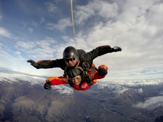 Sky diving over Wanaka, New Zealand