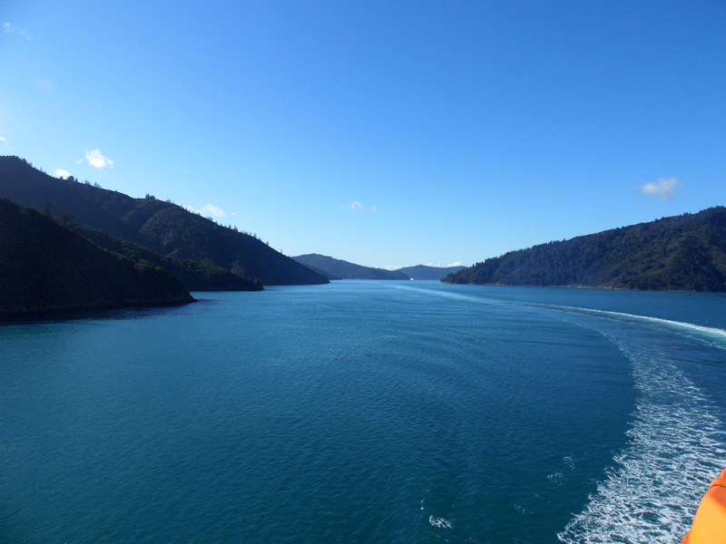Ferry journey from north island to south island, New Zealand