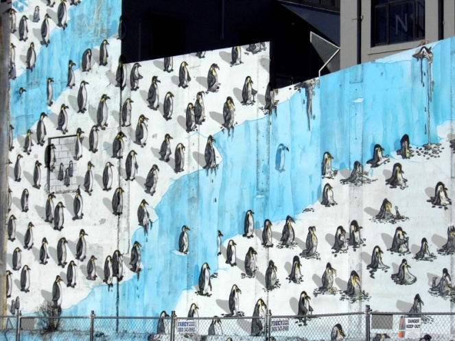 Penguin street art, Christchurch, New Zealand