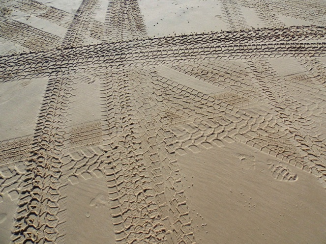 Tracks on the sand highway, Fraser Island, Australia
