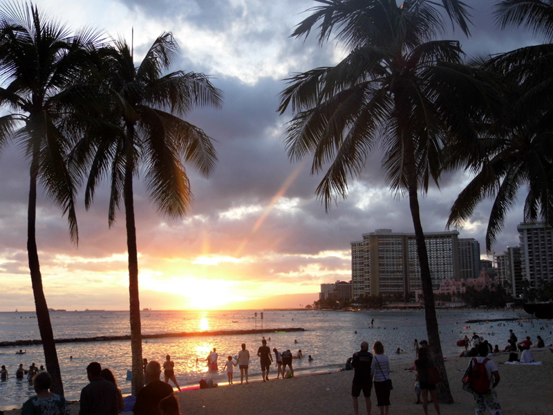 Honolulu sunset, Oahu, Hawaii