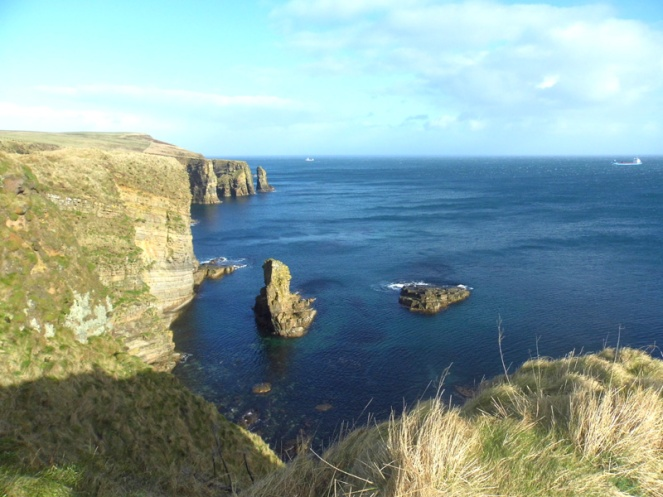 windwick bay, cliffs, orkney islands, scotland