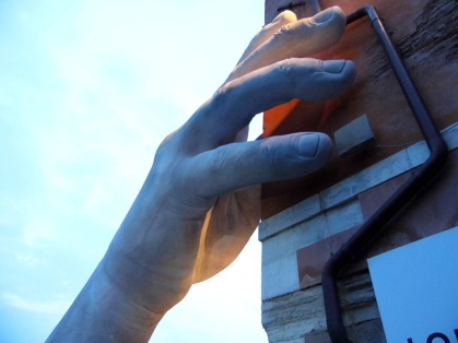 Giant hands art installation, Venice, Italy