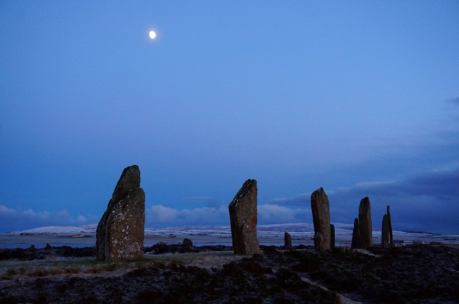 Ring Of Brodgar on a winter's night, Orkney, Scotland