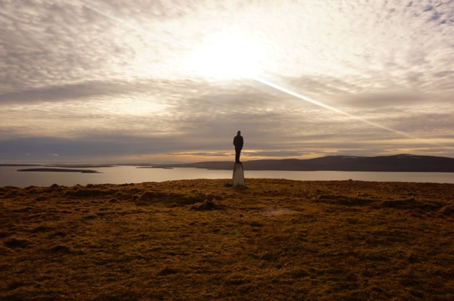 david surveying his kingdom, orkney, scotland