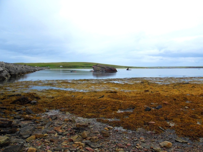 Shipwreck, blockship, Churchill barriers, Orkney, Scotland