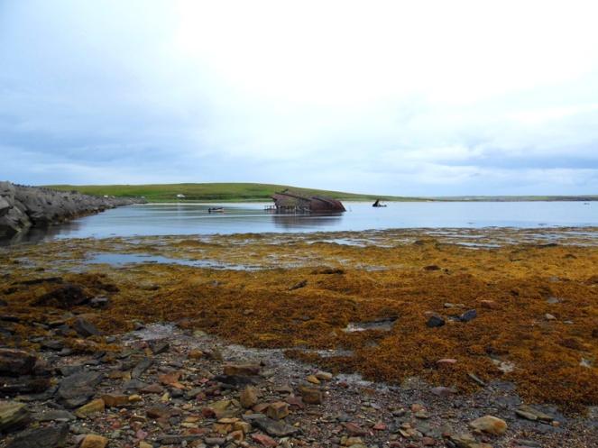 Shipwreck, blockship, Churchill barriers, Orkney, Scotland