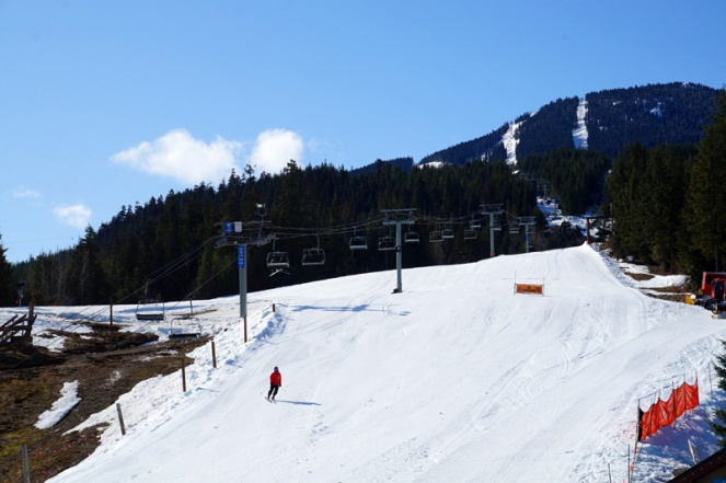 Skiing on Whistler mountain, Canada