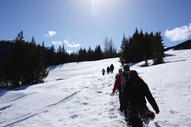 Hiking to the first zipline in the snow, Whistler, Canada