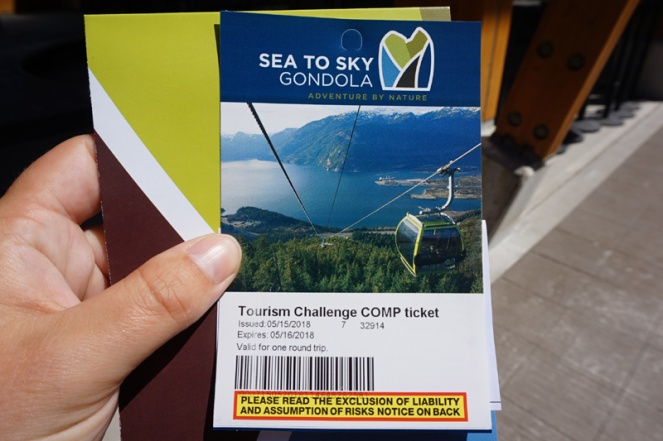 Sea To Sky gondola ticket, Squamish, BC, Canada