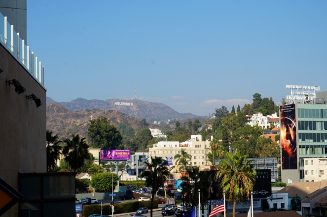 Hollywood sign from Hollywood Boulevard, LA, USA