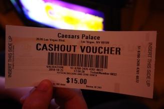 Caesar's Palace cashout voucher, Las Vegas, USA