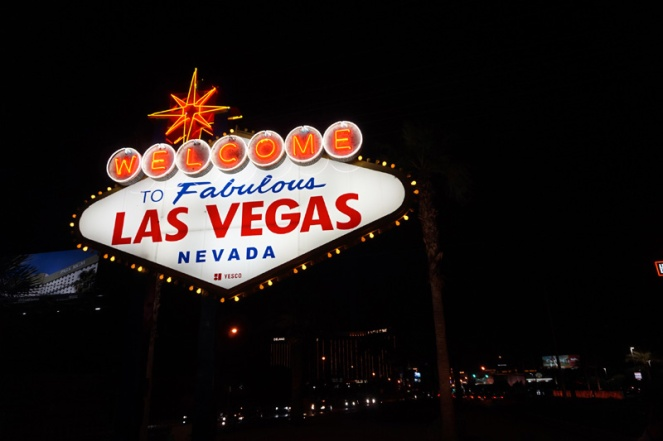 Las Vegas sign at night, USA