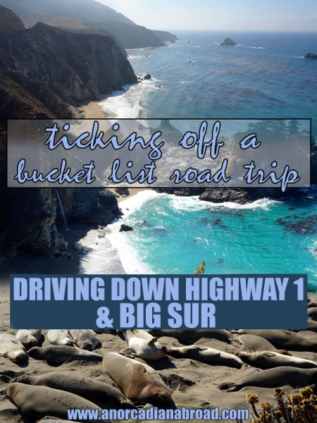 Ticking Off A Bucket List Road Trip - Driving Down Highway 1 & Big Sur In One Day. Explore cute towns, mesmerising waterfalls, find elephant seals & crazy hotels!