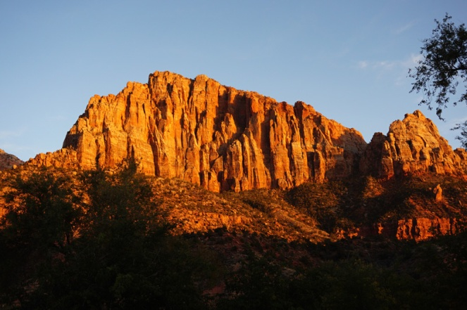 Sunset, Zion National Park campsite, USA