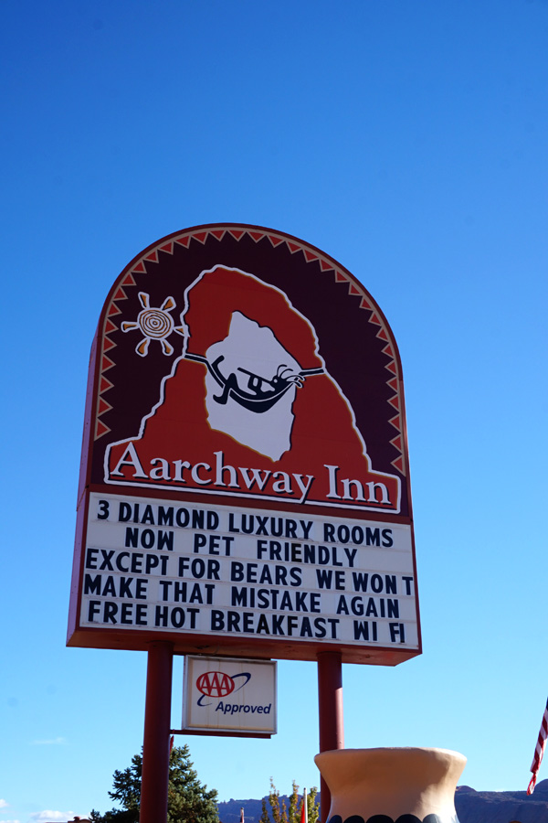 Aarchway Inn Hotel sign, Moab, Utah, USA