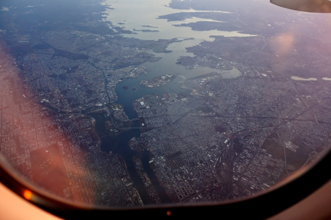 New York City from flight above, plane views, USA