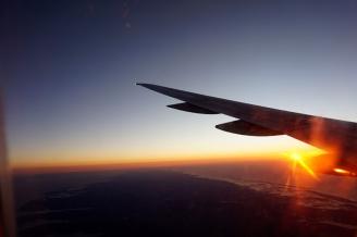 Sunrise flight, New York City, USA