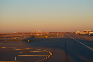 New York City from the airport, USA