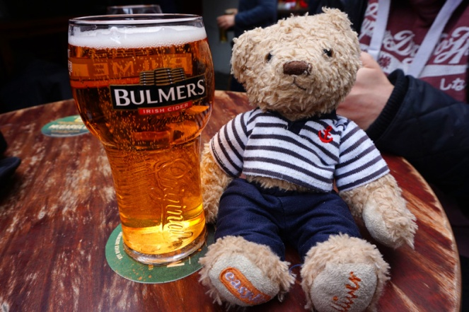 Gulliver doesn't like Guinness so he got a Bulmers, Dublin, Ireland