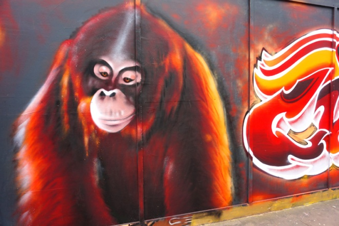 Chimpanzee street art, Shoreditch, London