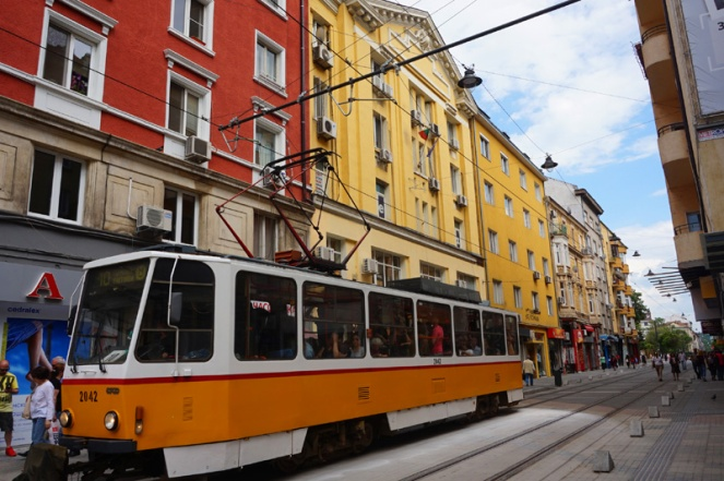 Trams and pretty buildings, Sofia, Bulgaria
