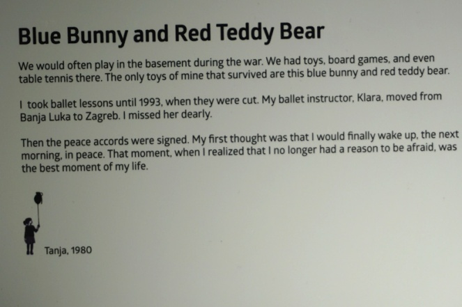 Bunny and teddy bear peace story, War Childhood Museum, Sarajevo, Bosnia & Herzegovina