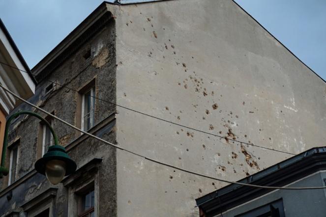 Bullet holes in walls, Sarajevo, Bosnia & Herzegovina