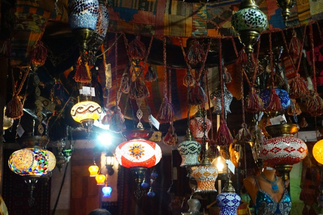 Market stalls with lanterns, Sarajevo, Bosnia & Herzegovina