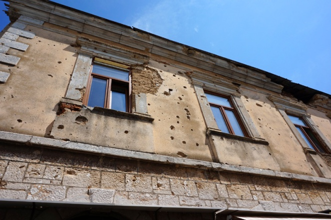 Bullet hole building, Mostar, Bosnia & Herzegovina