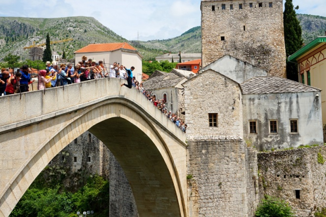 Someone jumping off Stari Most bridge, Mostar, Bosnia & Herzegovina