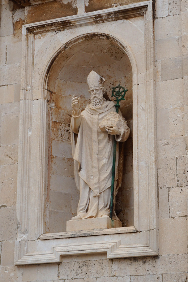 St Blaise statue holding Dubrovnik, Croatia