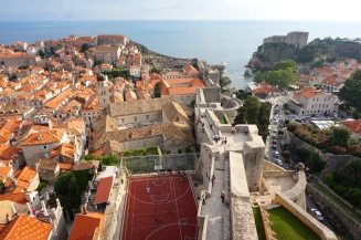 View from the city walls - a games court, Dubrovnik, Croatia